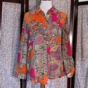 Chico's multicolored long sleeved button down top.